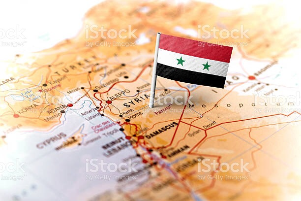 Map of Syria and the flag.