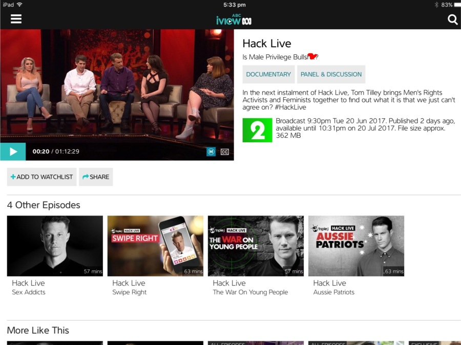 Screen shot of ABC's Hack Live on iView