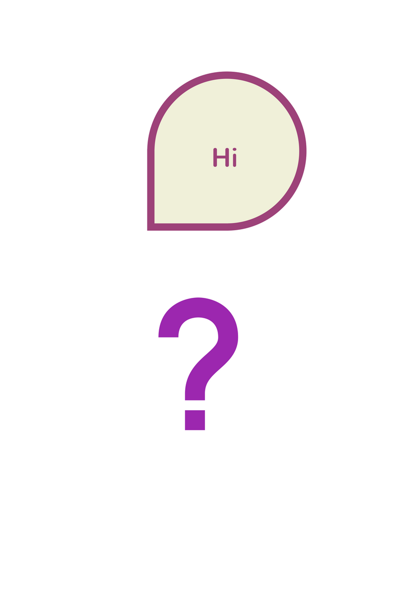 Canva disply: speech bubble and question mark