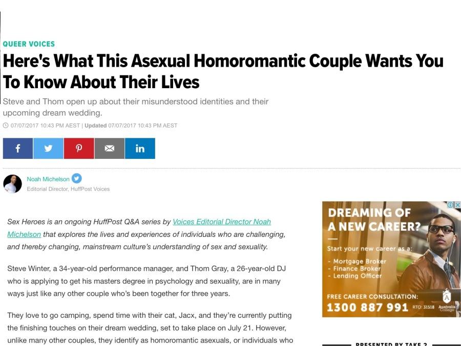 Screenshot of Huffington Post Australia article