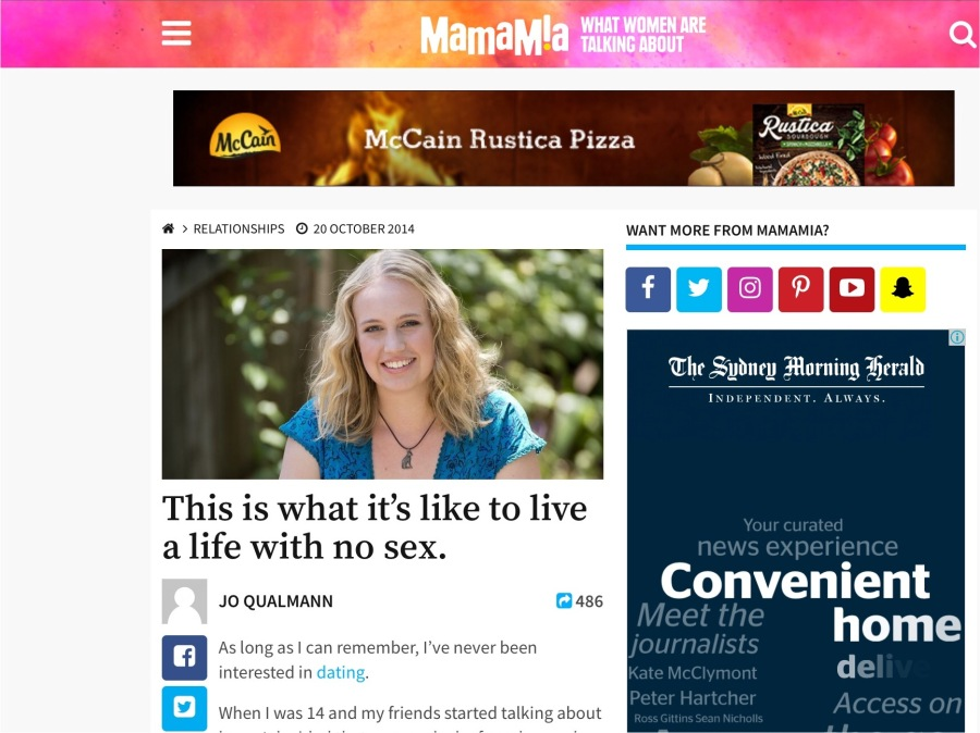 Screenshot of story featured in Mamamia on asexuality in 2014,written by Jo Qualmann
