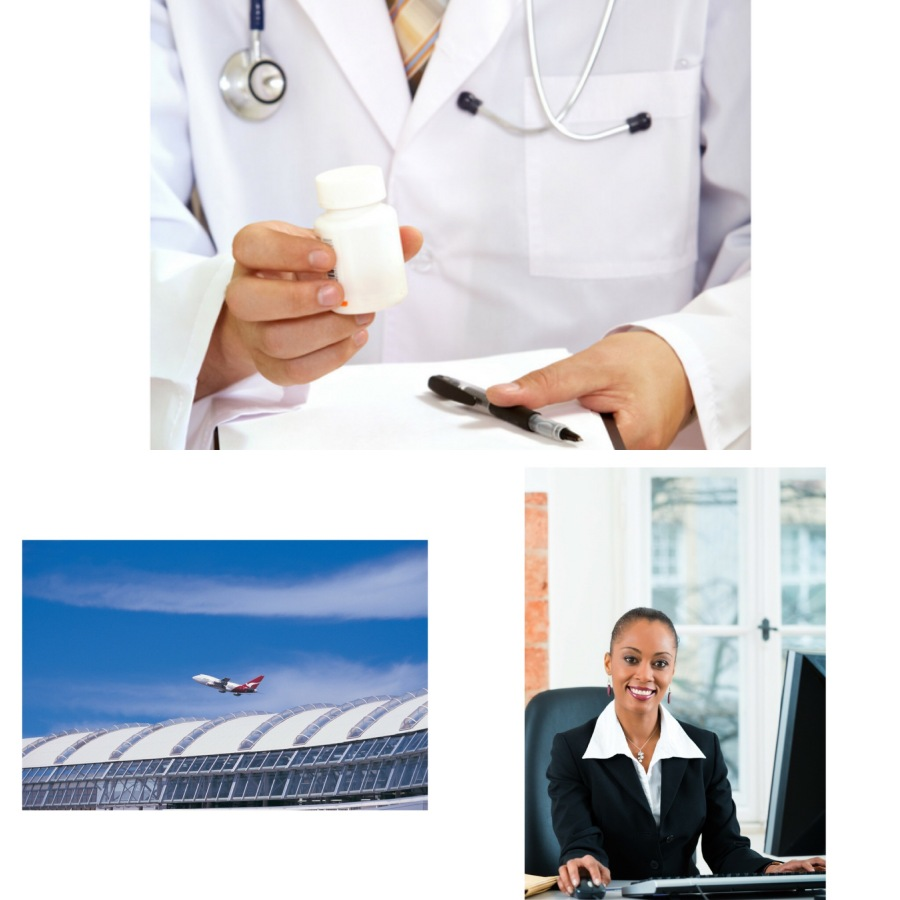 Canva images: lawyer, doctor and Quantas plane