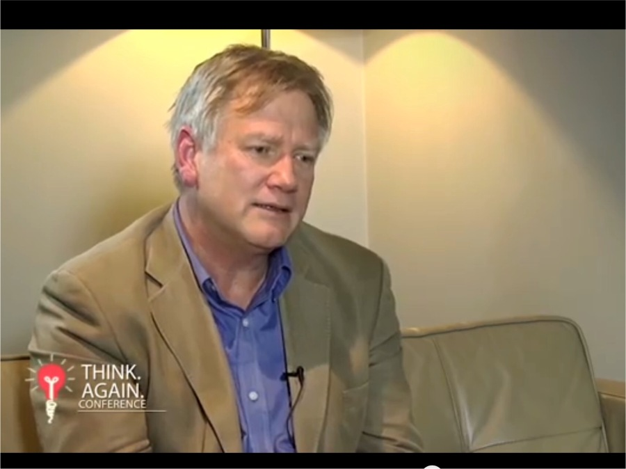 "Pic of Andrew Bolt last year being interviewed on ""Think Again"" conference"