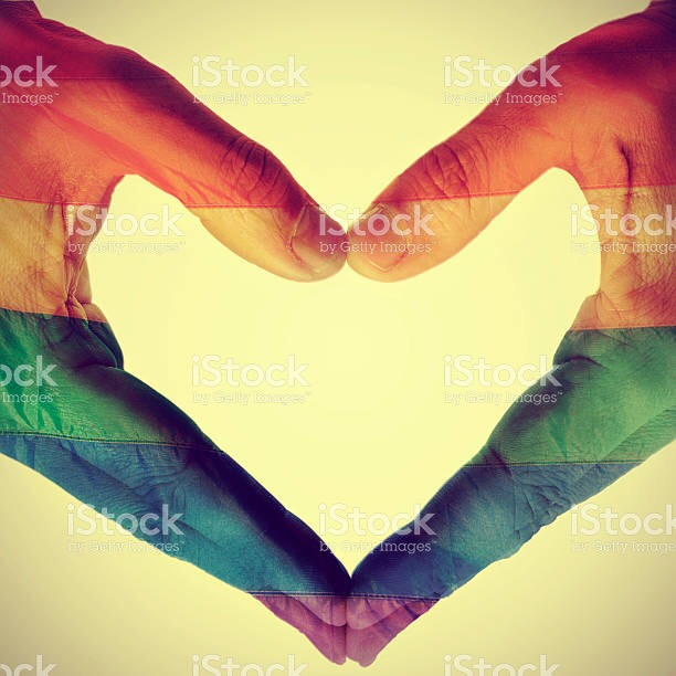 pride heart shaped hands