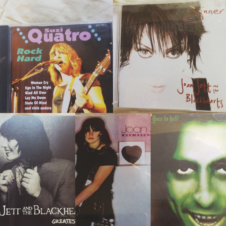 From top left: Suzi Quatro: Rock Hard, Joan Jett and the Blackhearts, Sinner, Joan Jett and the Blackhearts, Greatest Hits, Joan Jett, Bad Reputation, Alice Cooper: Alice goes to Hell