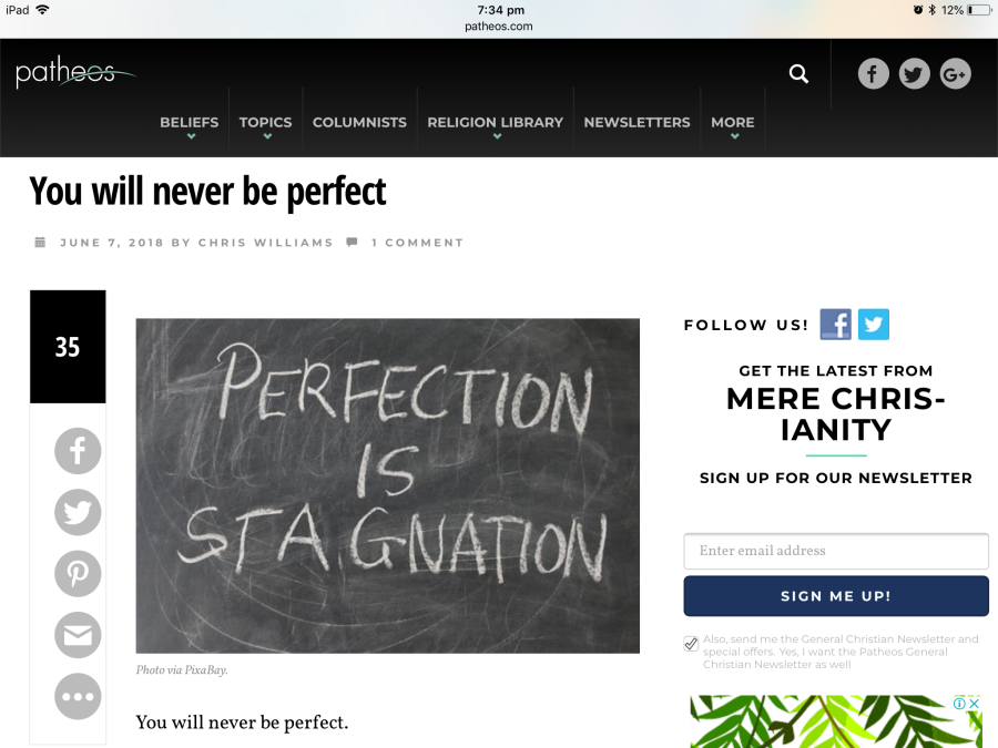 Patheos post: You will never be perfect by Chris Williams, June 7, 2018