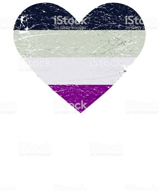 Asexuality flag in shape of heart